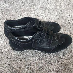 ECCO black leather velcro flats size 42
